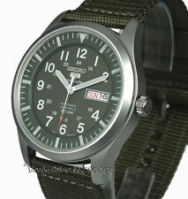 New SEIKO 5 SPORT MILITARY KHAKI AUTO With FABRIC BUCKLE STRAP SNZG09K1