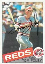 1985 Topps #107 Tom Foley Autograph - Signed Topps Baseball Cincinnati Reds