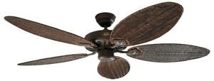 132 cm brown interior ceiling fan with pull cord CLASSIC ROYAL rattan blades