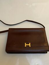 HERMES  VINTAGE  ANNIE BOX CALF LEATHER CLUTCH HANDBAG POCHETTE RARE COLLECTORS,