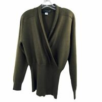 St Gillian by Kay Unger Olive/Taupe 100% Cashmere Sweater Size Small