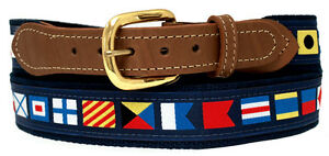 Nautical Code Flag Belt on Navy or Khaki webbing,Tan Leather Tips, Made in US