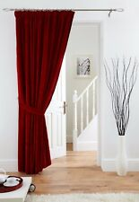 VELVET Door Curtain - Pencil Pleat - Red Black  Cream Mink Pewter FREE Tieback