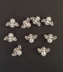 Bee Charm Bee Bead Spacer Bead 13x9mm Antique Silver Colour packs of 30 or 50