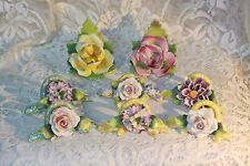 8 Vintage Stamped German Porcelain Flower Floral Name Place Card Holders