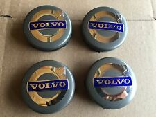 NEW 4PC SET VOLVO DARK GRAY CENTER WHEEL HUB CAPS COVER BLUE LOGO RIMS 3546923