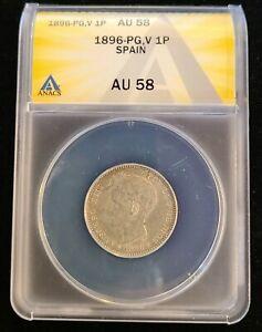 1896 PGV Spain Peseta Silver ANACS AU58 KM#706 Alfonso XIII Pillar Lion Crown