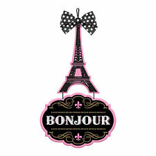 A Day In Paris Pink Eiffel Tower Bonjour Hanging Sign