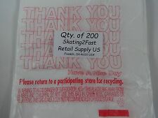 "200 Qty. THANK YOU Plastic T-Shirt Retail Shopping Bags w/ Handles 7"" x 5"" x 15"""