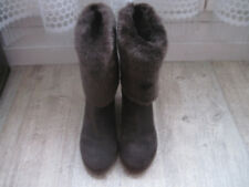 88e192c94e1ff5 BOTTES LOW BOOTS BOTTINES GEOX FUR MARRON CUIR DAIM FOURRURE 38 IT = 39 FR  NEUFS