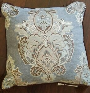 NEW WATERFORD HILLIARD TEAL BROWN 18 X 18  SQUARE TASSLE THROW PILLOW
