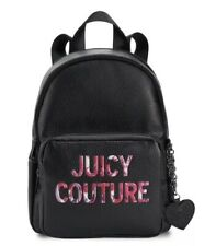 New Juicy Couture All Nighter Black Pink Charm Logo Backpack Travel Sc Purse