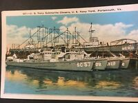 Postcard US Navy Submarine Chasers Navy Yard Portsmouth Virginia.   Blank. Pg2