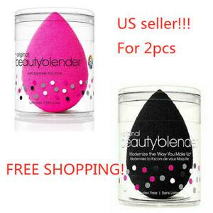 2PCS/set Original Beauty Blender Makeup Sponge Applicator Latex Free Pink/Black!