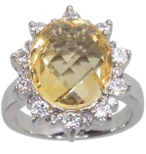 Citrine Gemstone Oval Checkerboard Surface Sterling Silver Ring size O