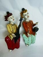 antique indonesian   painted wood    musician wall figure pair