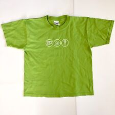 Kids Youth Apple Camp Lime Green Graphic S/S Tee T Shirt B4 Cotton Sz Large