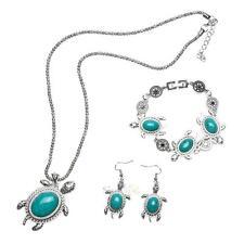 Turquoise Jewelry Vintage Silver Tortoise Necklace Bracelet Earrings One Set New