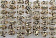 LOT DE 30PCS bague plaqué or faux diamant effet clair/noir diamant Rings