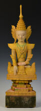 Early 19th Century, Early Mandalay, Antique Burmese Wooden Seated Crowned Buddha
