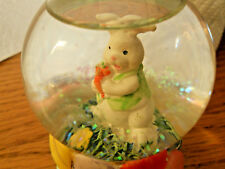 Snow Globe Easter Bunnie Rabbit with Carrot Easter Eggs Snowdome