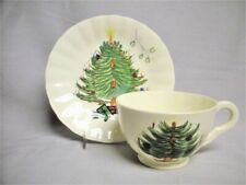 BLUE RIDGE Pottery CHRISTMAS TREE Cup Saucer Hand Painted Southern Potteries Old