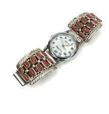 Native American Sterling Silver Navajo Handmade Natural Coral Watch tip