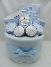 New baby boy nappy cake photo frame & tooth/curl box