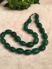 Carved Emerald 14K Yellow gold Strand Necklace