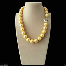 """Rare Huge Natural Yellow 12/14mm South Sea Shell Pearl Heart Clasp Necklace 18"""""""