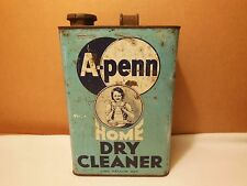A - PENN HOME DRY CLEANER 1 GALLON TIN CONTAINER 1930's ORIGINAL CAP