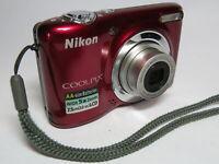 Nikon Coolpix L25 5x Wide Zoom 10MP AA Battery Deep Red Digital Camera & 2GB SD