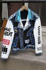 Mens silver studded genuine leather jacket, Rock punk blue white biker jackets