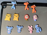 3D Zoo Animals Lot Of 11 Shoe,Bracelet,Lace Adapter Charm Giraffes,bears & More