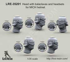 Live Resin 1/35 LRE-35201 Head with Balaclavas and Headsets for MICH Helmet