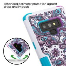 Flower Case For Samsung Galaxy Note 9 HYBRID Armor Rubber TPU Cover Stand Damask