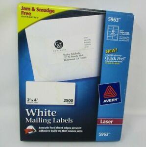 "Laser Labels, White Mailing labels, Permanent, 2""x4"", 2500/BX, White #5963"
