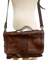 Fossil Vintage Reissue VRI Flap Messenger Bag Purse Crossbody Leather Brown