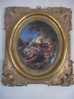 2of2 FRENCH PASTORAL SCENE Gold Gilt Frame Ornate Victorian Grand Tour Style