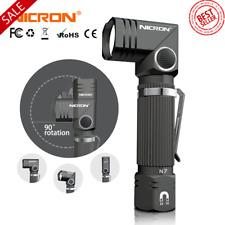 Led Flashlight Handfree NICRON Dual Fuel 90 Degree Twist Rotary Clip 600LM NEW!