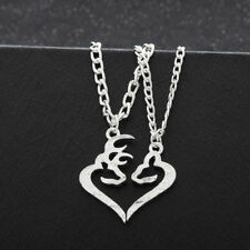 Her Buck His Doe Head Heart Necklace 2 PC Set Browning Interlocking Deer Couples