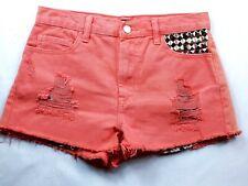 Forever 21 Women's Booty Jean Shorts Size 26 Solid Orange Raw Hem Studded