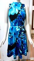 NWT White House Black Market Sleeveless Mock Neck Floral Fit & Flare Dress, 16