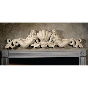 "39"" W Architectural Over The Door European Manor Mermaids Wall decor pediment"