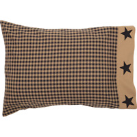 BLACK CHECK STAR Standard Pillow Case Set/2 Khaki Primitive Rustic Country VHC