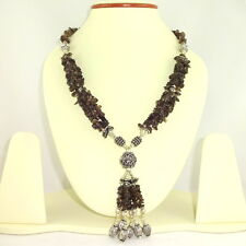 NATURAL CHIPS SMOKY QUARTZ GEMSTONE BEADED NECKLACE 78 GRAMS