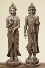 2er Set Buddha 80cm Altezza in antique marrone. per giardino e Casa Monaco Nuovo