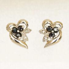 NATURAL SAPPHIRE DIAMOND EARRINGS 9K 375 WHITE GOLD STUDS GENUINE DIAMONDS NEW