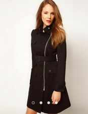Women's Karen Millen Posh Cotton Coat in Black Size UK 8