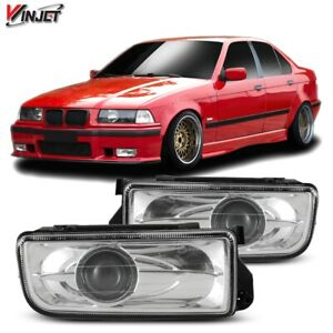 For 92-98 BMW 3 Series E36 PAIR OE Style Fit Fog Light Projector Clear Lens